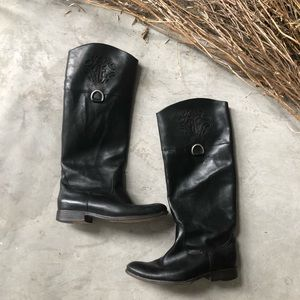 Frye Tall Black Leather Riding Boots 8.5